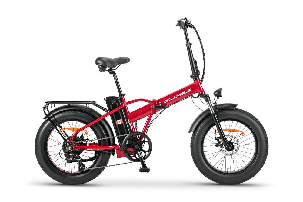 The SLane Columbus E-Bike in a red metallic colour