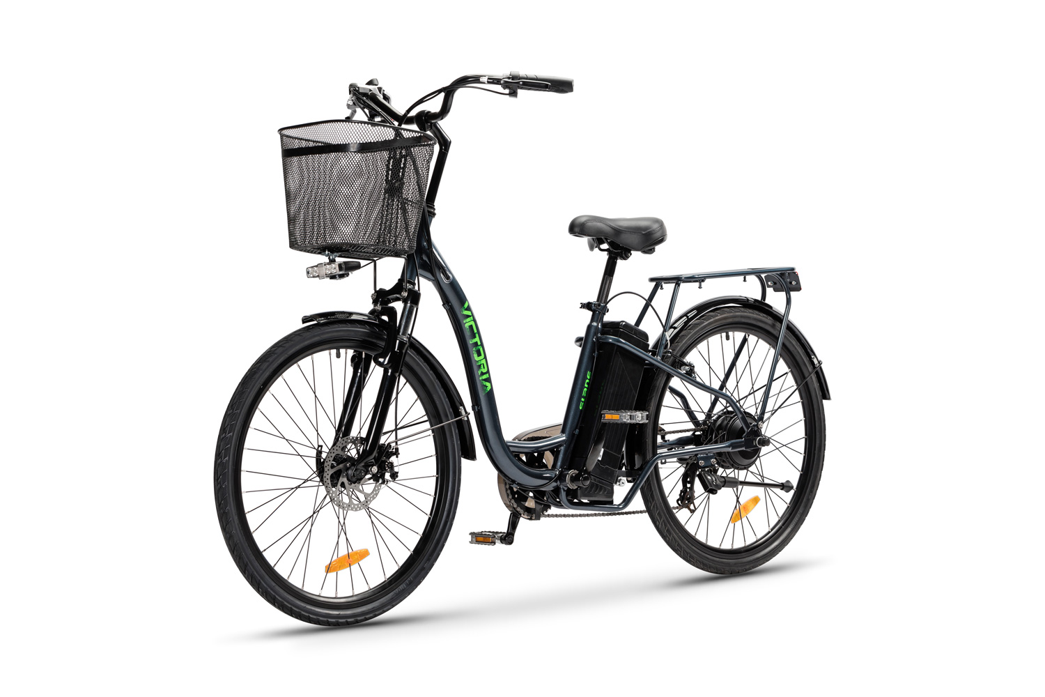 The Slane Victoria E-Bike with front carrying basket in a gray color