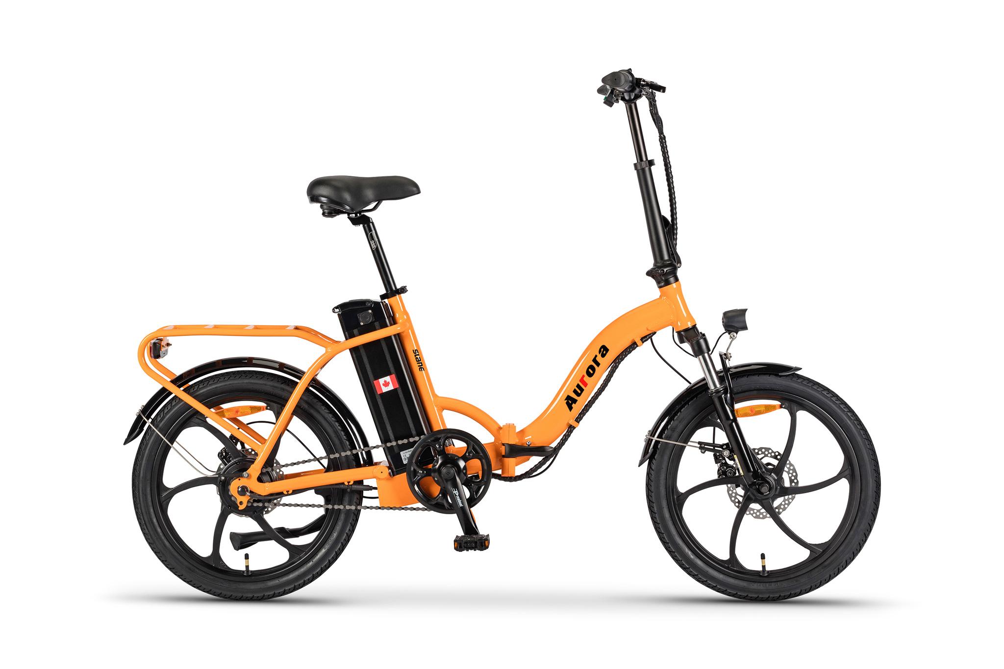 The Slane Aurora E-Bike in a Orange color