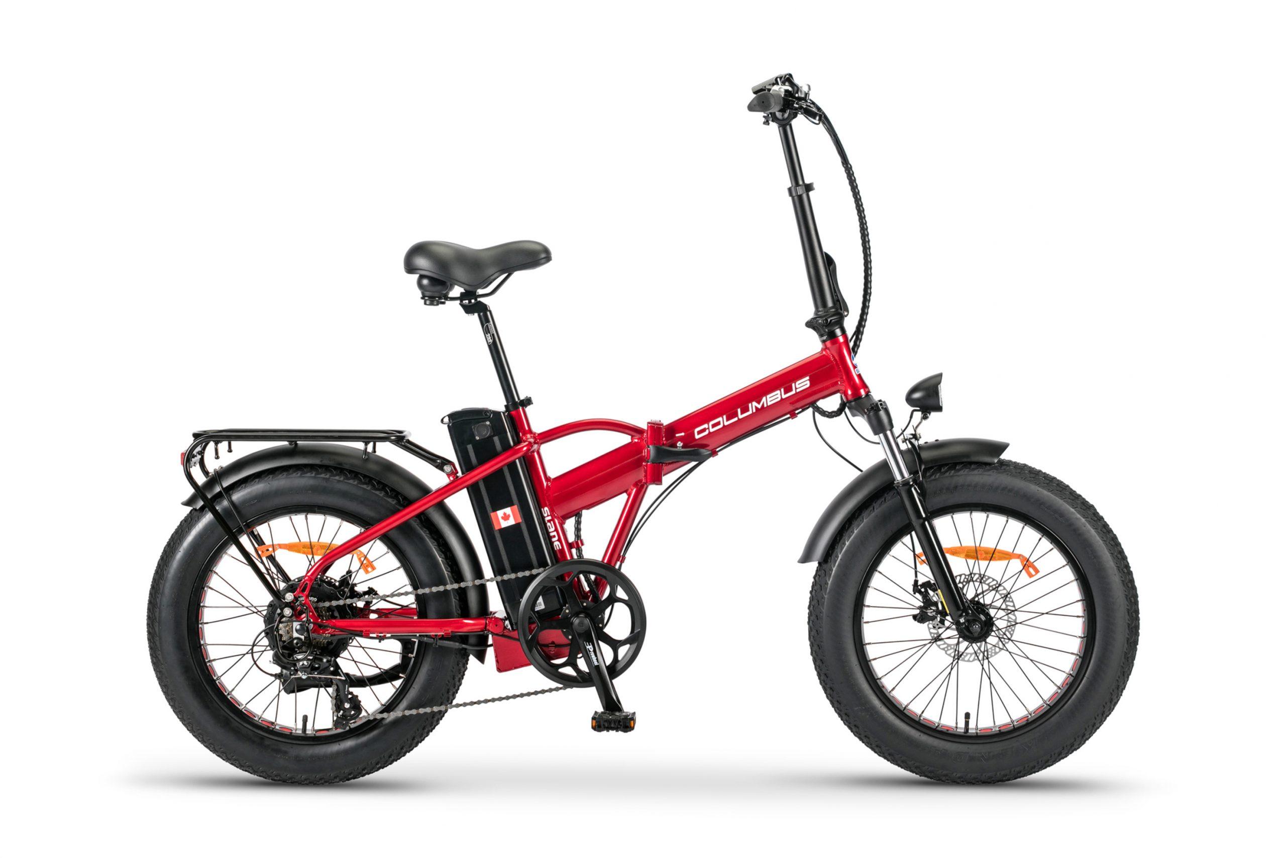 The Slane Columbus E-Bike in a Metallic Red